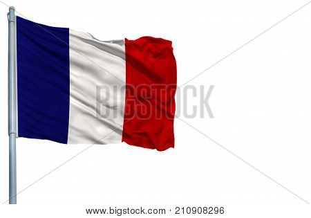 National flag of France on a flagpole, isolated on white background.