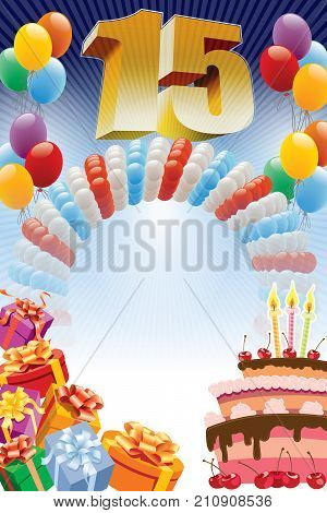 Background with design elements and the birthday cake. The poster or invitation for fifteenth birthday or anniversary.