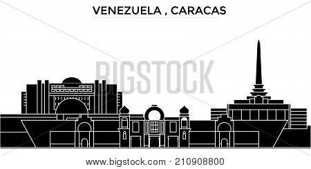 Venezuela , Caracas architecture vector city skyline, black cityscape with landmarks, isolated sights on background