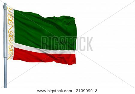 National flag of Chechen Republic on a flagpole, isolated on white background.