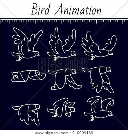 Animation The Bird Is Flying Black