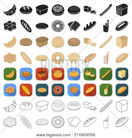 Bread set icons in cartoon style. Big collection bread vector symbol stock