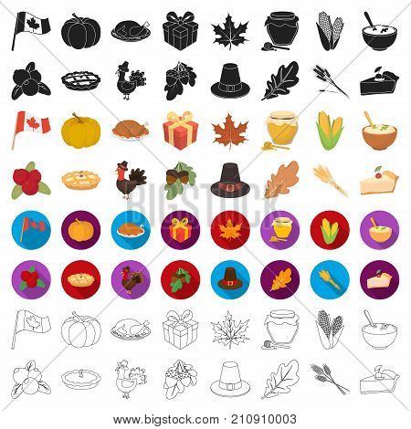 Canadian Thanksgiving Day set icons in cartoon style. Big collection of canadian Thanksgiving Day vector symbol.