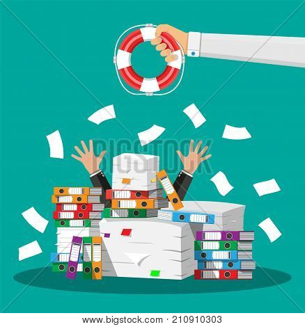 Stressed cartoon businessman in pile of office papers and hand with lifebuoy. Stress at work. Overworked. File folders. Carton boxes. Bureaucracy, paperwork. Vector illustration in flat style