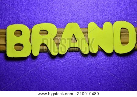 the word brand on a abstract blue background