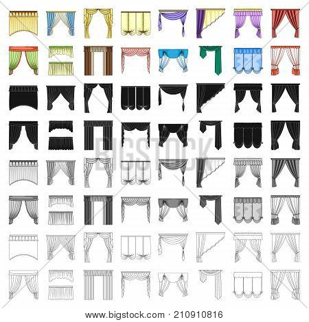 Fabric, textiles, interior and other curtains elements. Curtains set collection icons in cartoon style vector symbol stock illustration.