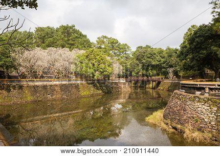The Lake At Khiem Tomb Of Tu Duc In Hue Vietnam