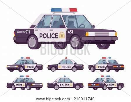 Police car set. Patrol official vehicle, cop automobile to help protect and serve, chase and pursuit criminals on road, emergency service. Vector flat style cartoon illustration on white background