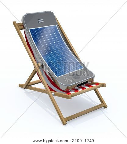 smartphone with solar panel on screen that rest in beach chair 3d illustration