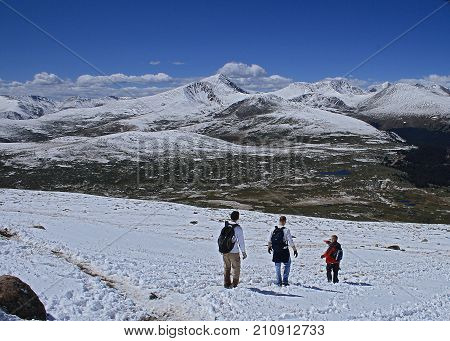 Mount Bierstadt Trail, Colorado - September 13, 2008: People descending from Mount Bierstadt in Colorado