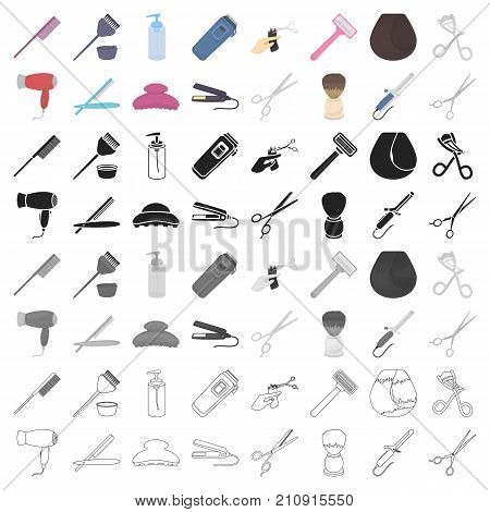 Hairdressery set icons in cartoon style. Big collection of hairdressery vector symbol stock