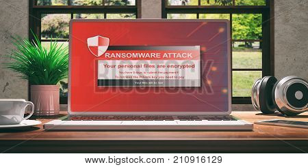 Laptop With Ransomware Screen On Wooden Desk At Home. Beautiful Blurred Nature Background. 3D Illust