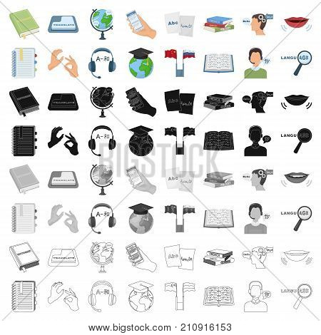 Interpreter and translator set icons in cartoon design. Big collection of interpreter and translator vector symbol stock illustration
