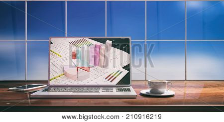 Laptop With Analysis Report Screen On Desk. Blurred Sky Background. 3D Illustration