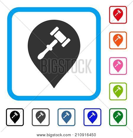 Auction Hammer Marker icon. Flat gray pictogram symbol in a light blue rounded square. Black, gray, green, blue, red, orange color additional versions of Auction Hammer Marker vector.