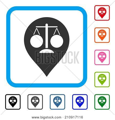 Court Map Marker icon. Flat gray iconic symbol in a light blue rounded squared frame. Black, gray, green, blue, red, orange color additional versions of Court Map Marker vector.