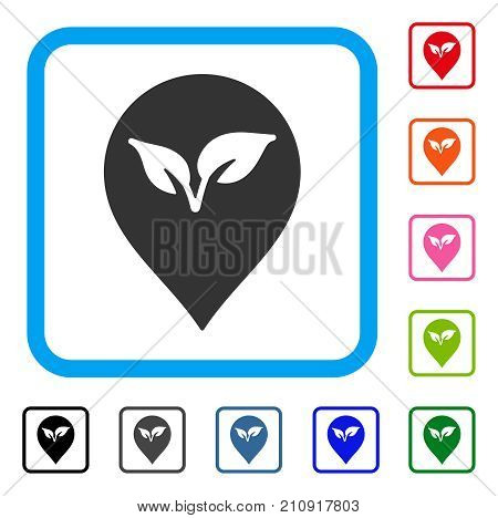 Flora Plant Marker icon. Flat gray pictogram symbol inside a light blue rounded rectangle. Black, gray, green, blue, red, orange color variants of Flora Plant Marker vector.