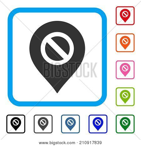 Forbidden Marker icon. Flat grey iconic symbol inside a light blue rounded square. Black, gray, green, blue, red, orange color additional versions of Forbidden Marker vector.
