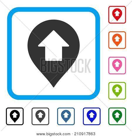 Forward Up Arrow Marker icon. Flat grey pictogram symbol inside a light blue rounded squared frame. Black, gray, green, blue, red, orange color variants of Forward Up Arrow Marker vector.