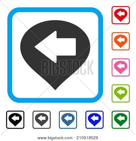 Left Arrow Marker icon. Flat gray pictogram symbol in a light blue rounded square. Black, gray, green, blue, red, orange color additional versions of Left Arrow Marker vector.