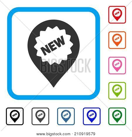 New Marker icon. Flat gray iconic symbol in a light blue rounded square. Black, gray, green, blue, red, orange color additional versions of New Marker vector. Designed for web and app interfaces.