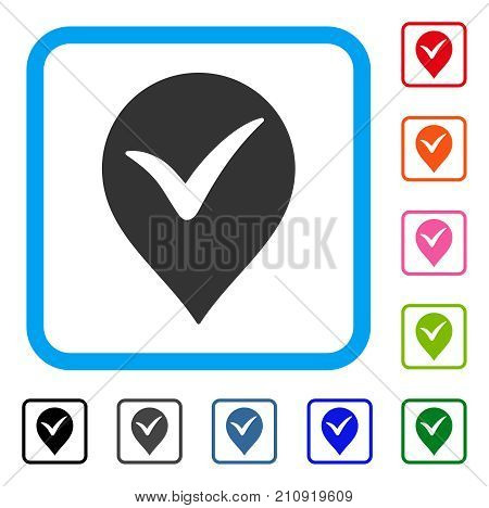 Ok Marker icon. Flat grey pictogram symbol in a light blue rounded frame. Black, gray, green, blue, red, orange color versions of Ok Marker vector. Designed for web and app user interface.