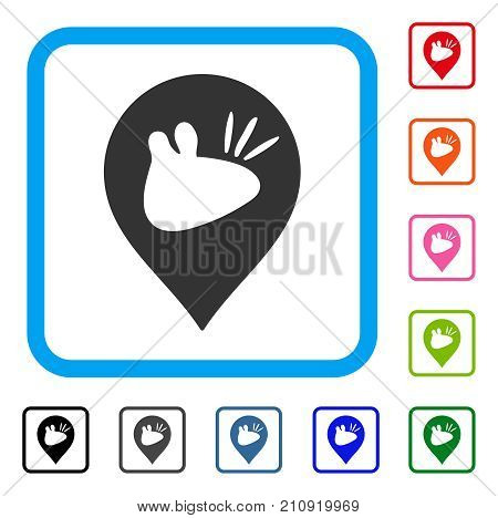 Rats Marker icon. Flat gray iconic symbol in a light blue rounded frame. Black, gray, green, blue, red, orange color versions of Rats Marker vector. Designed for web and app interfaces.