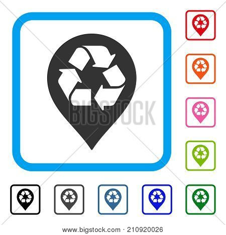 Recycle Map Marker icon. Flat gray iconic symbol in a light blue rounded rectangular frame. Black, gray, green, blue, red, orange color versions of Recycle Map Marker vector.