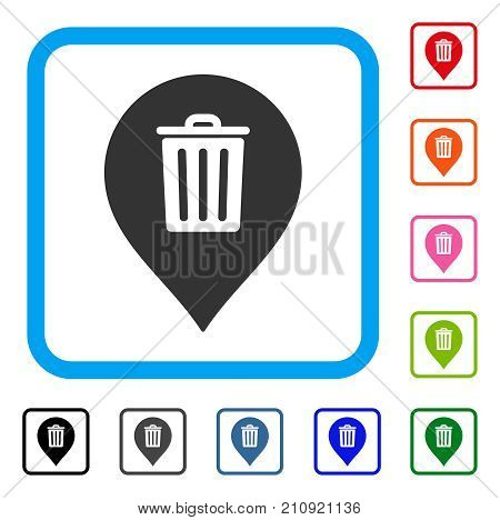 Trash Can Marker icon. Flat grey pictogram symbol inside a light blue rounded square. Black, gray, green, blue, red, orange color additional versions of Trash Can Marker vector.