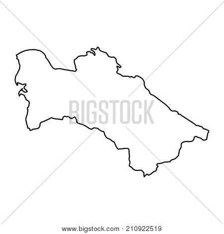Turkmenistan map of black contour curves of vector illustration