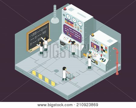 Scientific laboratory experiment experience scientists work control panel analysis development production study technology business Isometric 3d flat design concept illustration