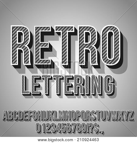 Retro Gray and Black Vintage Text 3D Effects, Font Typeset Vector lettering set