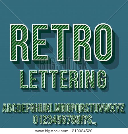 Retro Green Colored Vintage Text 3D Effects, Font Typeset Vector lettering set