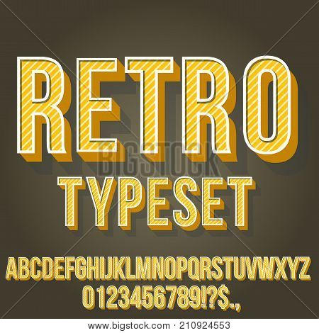 Retro Gold Yellow Colored Vintage Text 3D Effects, Font Typeset Vector lettering set