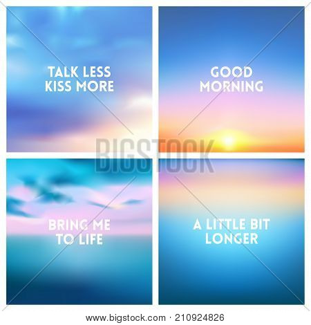 Abstract vector multicolored blurred background set. 4 colors set. Square blurred backgrounds set - sky clouds sea ocean beach colors With love quotes