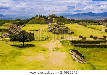 Panoramic view of Monte Alban, the ancient city of Zapotecs, Oaxaca, Mexico