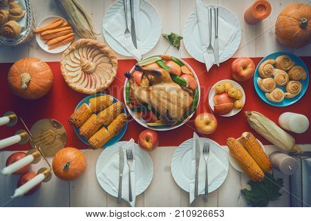 Happy Thanksgiving Day! Autumn feast. Family traditional dinner. Food concept. Celebrate holidays. poster