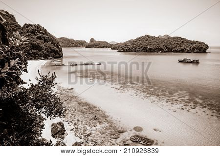 Sepia color light brown two tone high angle view beautiful natural landscape of the beach floating pier and sea on island from Ko Wua Talap viewpoint at Mu Ko Ang Thong National Park Surat Thani Thailand