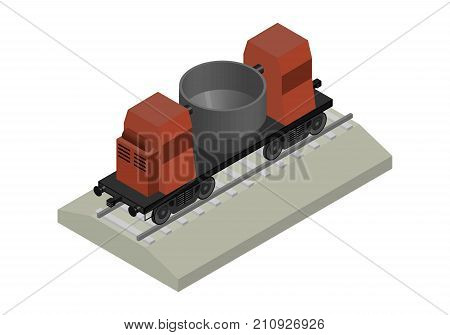 Railway isometric carriage. Factory slag carrier 3D.