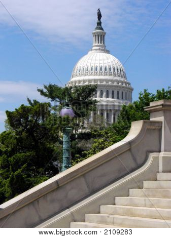 Capitol Dome With Supreme Court Stairs