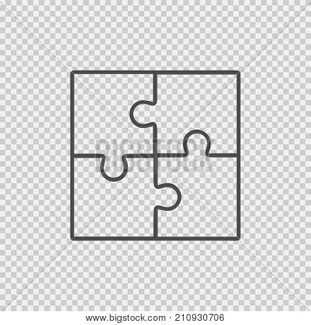 Puzzle teamwork logo vector icon eps 10. Simple isolated outline illustration.