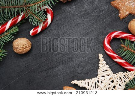 Christmas winter background. Black board with decorations