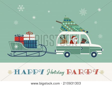 Happy holidays party poster. Cute deer pet dog Santa Claus. Christmas tree on retro bus. Sleigh gifts. Colorful playful cartoon. Vector winter holiday greeting card. New Year event fun banner