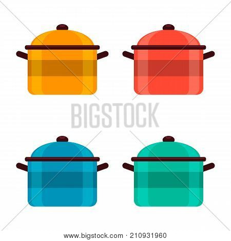 Set of colored enameled pots on white background vector illustration.