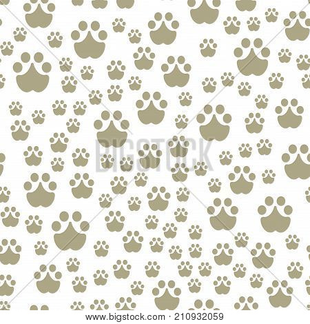 Animal Footprints Include Mammals Seamless Pattern Foot Print Trace Wildlife Track Steps