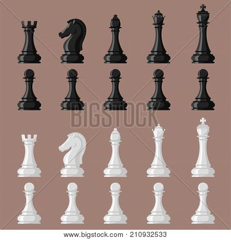 Chess board and chessmen vector leisure. Concept knight group white and black piece competition. Strategy play leisure battle choice tournament.