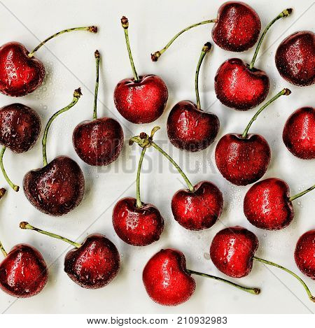 Sweet Cherry. Cherry. A Lot Of Cherries Isolated