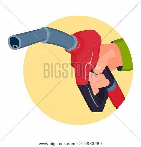 Filling gas station pistol vector illustration. Chemistry refinery refueling petroleum tank service. Energy transport hose benzine liquid industry.