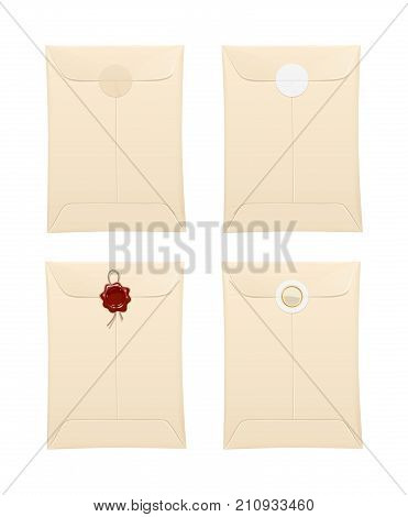 Paper envelope with protection stamp and sticker. Vintage Stationery office accessory for cover paper document. Isolated white background. Vector illustration.