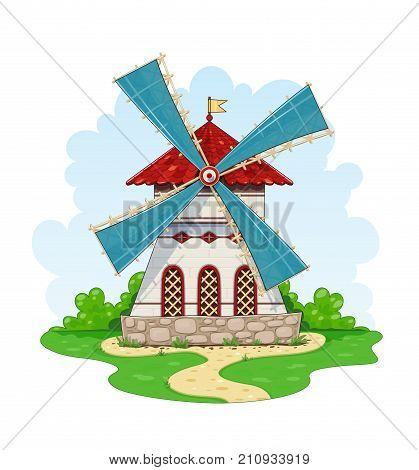 Vintage windmill. Wind energy ecological Agriculture equipment for mill. Isolated white background. Vector illustration.